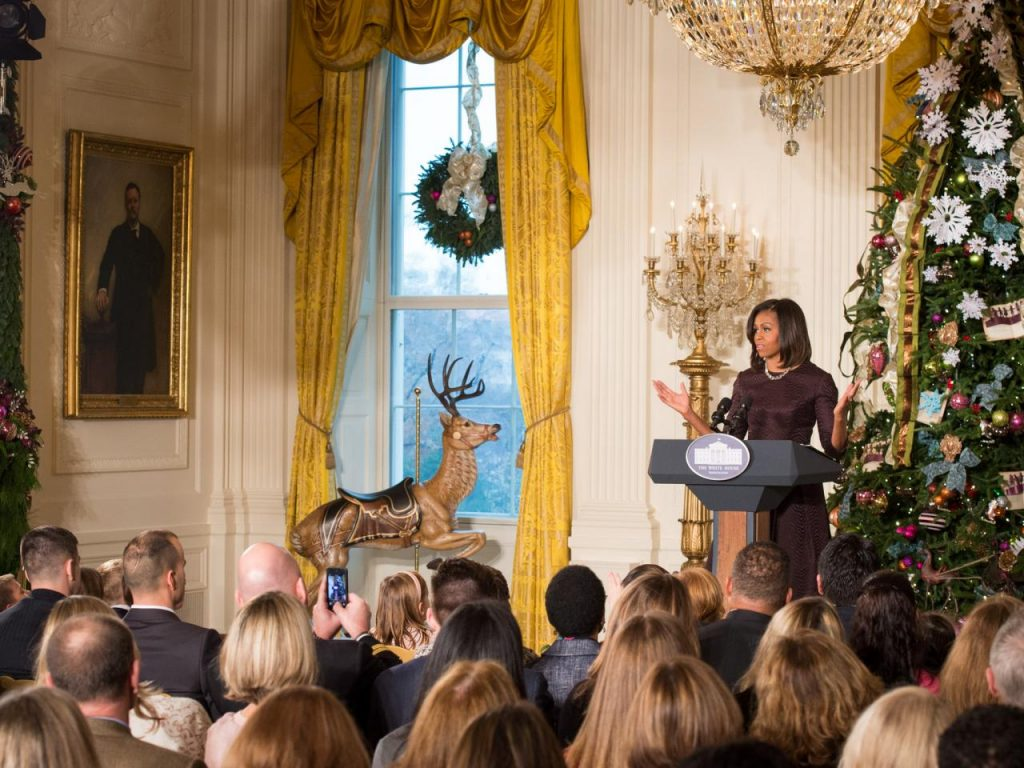 First Lady Michelle Obama in the East Room